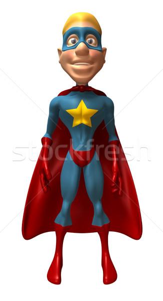 Stok fotoğraf: Süper · kahraman · mavi · eğlence · maske · çizme · örnek