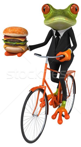 Leuk kikker groene springen pak fiets Stockfoto © julientromeur