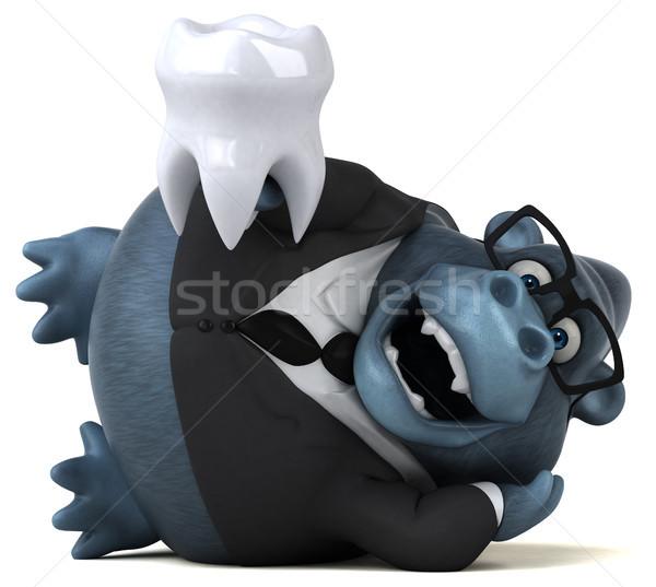 Eğlence goril 3d illustration takım elbise dişler hayvan Stok fotoğraf © julientromeur