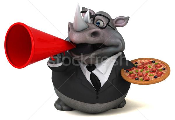 Jókedv orrszarvú 3d illusztráció pizza üzletember öltöny Stock fotó © julientromeur