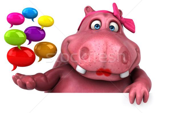 Rosa ippopotamo illustrazione 3d divertimento grasso media Foto d'archivio © julientromeur