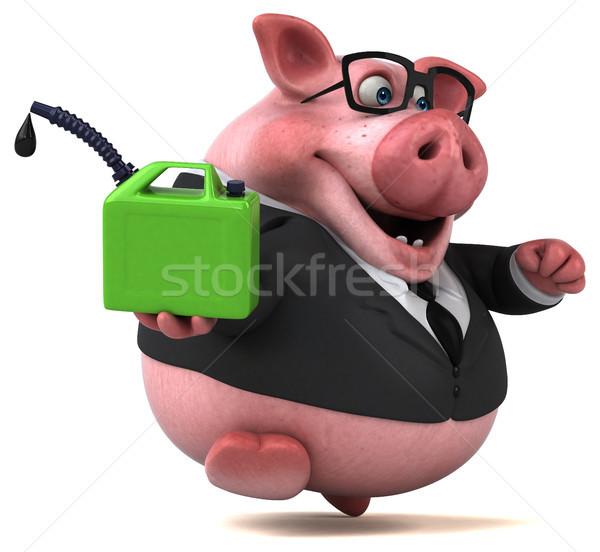 Stok fotoğraf: Eğlence · domuz · 3d · illustration · işadamı · yeşil · takım · elbise