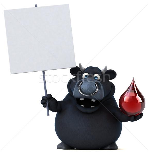 Nero toro illustrazione 3d capelli sangue mucca Foto d'archivio © julientromeur