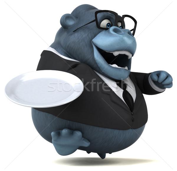 Jókedv gorilla 3d illusztráció öltöny tányér állatok Stock fotó © julientromeur