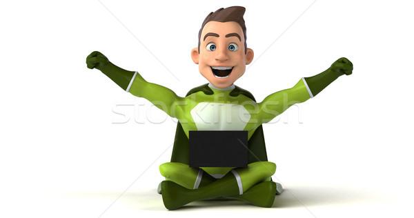 Szuperhős kódolás 3d illusztráció számítógép férfi laptop Stock fotó © julientromeur