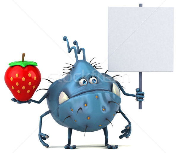 Stock fotó: Jókedv · bacilus · 3d · illusztráció · gyümölcs · egészség · eper