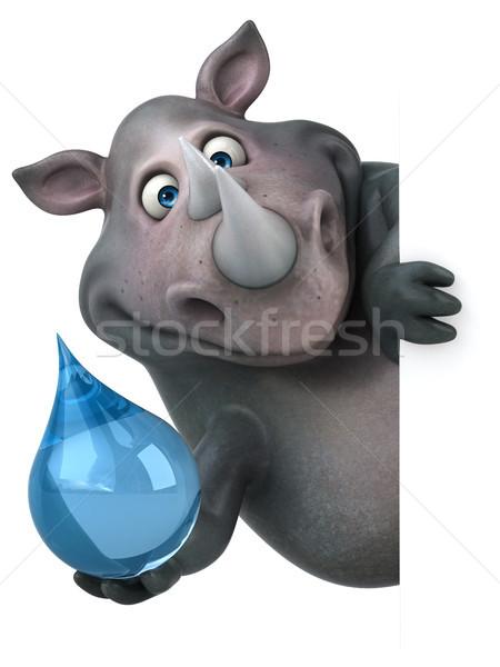 Diversão rinoceronte ilustração 3d gordura cair animal Foto stock © julientromeur