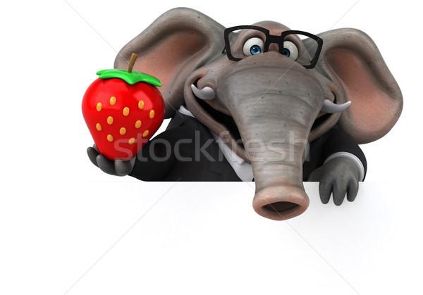 Zabawy słoń 3d ilustracji garnitur Afryki truskawki Zdjęcia stock © julientromeur