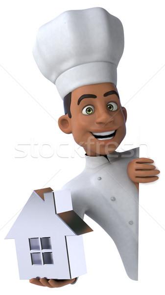 Jókedv szakács otthon konyha ingatlan fehér Stock fotó © julientromeur