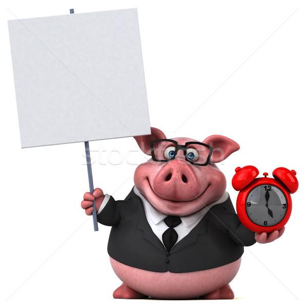 Eğlence domuz 3d illustration saat işadamı takım elbise Stok fotoğraf © julientromeur