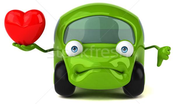 Leuk auto 3d illustration weg hart energie Stockfoto © julientromeur