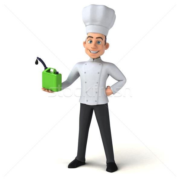Jókedv szakács konyha zöld fehér főzés Stock fotó © julientromeur