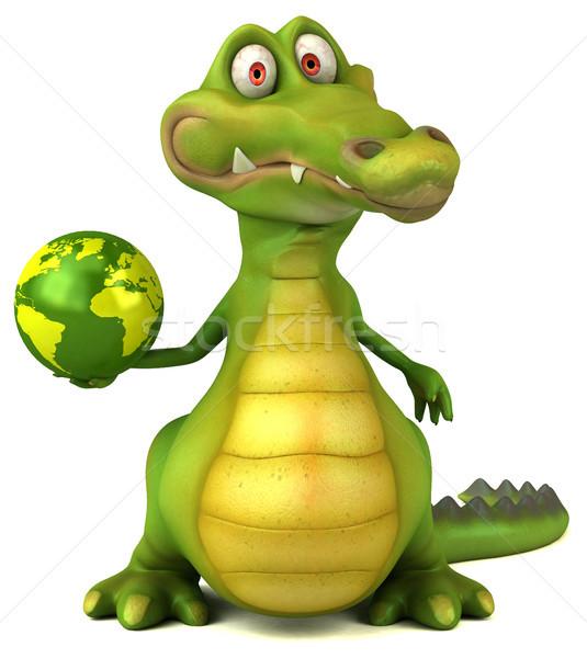 Krokodil jókedv boldog terv világ művészet Stock fotó © julientromeur