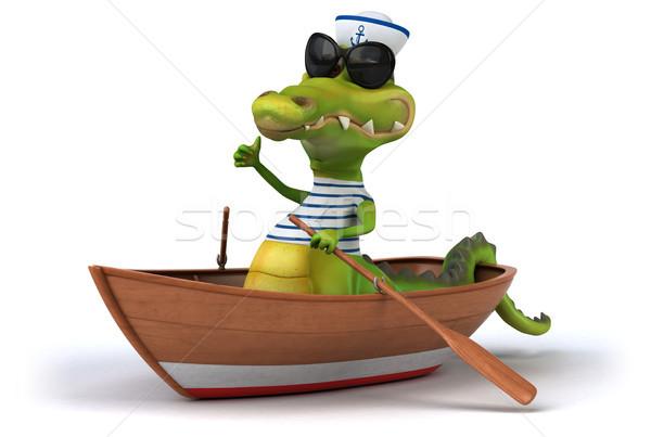 Eğlence krokodil mutlu dizayn sanat okyanus Stok fotoğraf © julientromeur