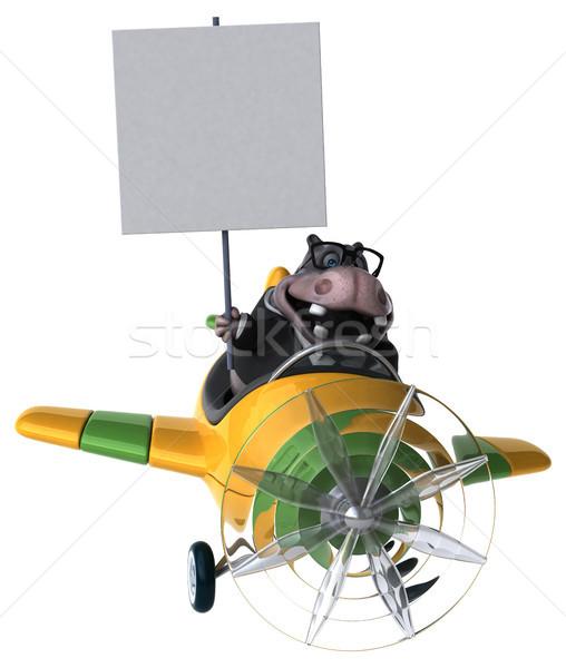 楽しい カバ 3次元の図 ビジネス 自然 飛行機 ストックフォト © julientromeur