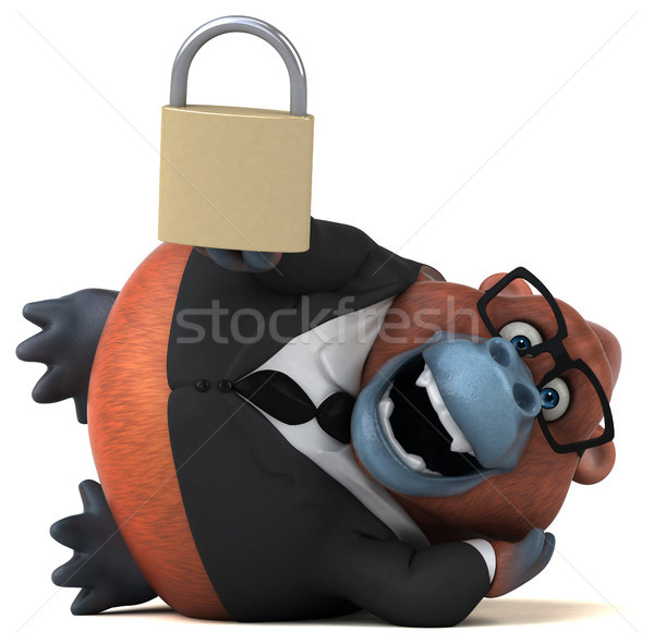 Zabawy 3d ilustracji działalności charakter biznesmen małpa Zdjęcia stock © julientromeur