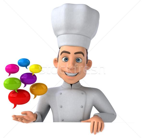 Jókedv szakács konyha kommunikáció fehér főzés Stock fotó © julientromeur
