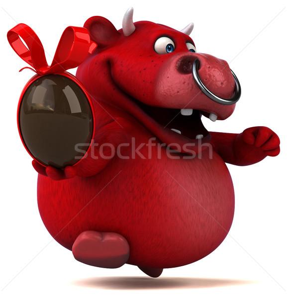 赤 牛 3次元の図 髪 チョコレート 牛 ストックフォト © julientromeur