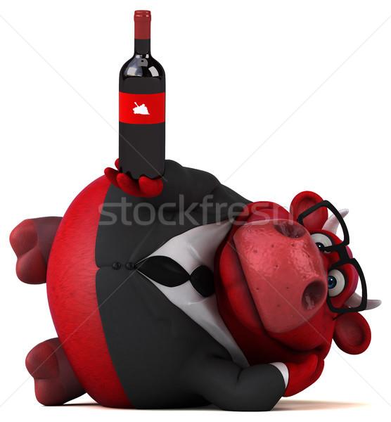 Kırmızı boğa 3d illustration içmek takım elbise eğlence Stok fotoğraf © julientromeur