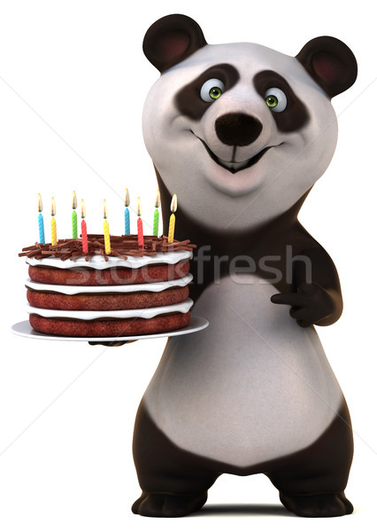 Leuk panda 3d illustration verjaardag cake kaars Stockfoto © julientromeur