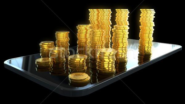 Telefone dinheiro ilustração 3d rede tela financiar Foto stock © julientromeur