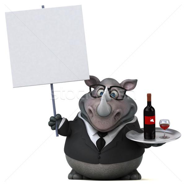 весело носорог 3d иллюстрации вино бизнесмен пить Сток-фото © julientromeur