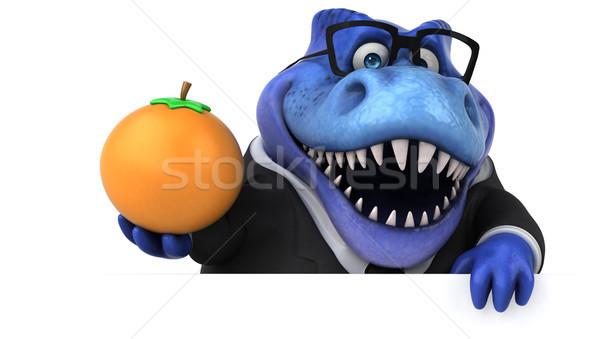 Сток-фото: весело · 3d · иллюстрации · бизнеса · фрукты · бизнесмен · оранжевый