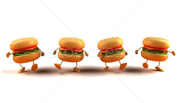 Hamburger gıda ekmek et yağ yeme Stok fotoğraf © julientromeur