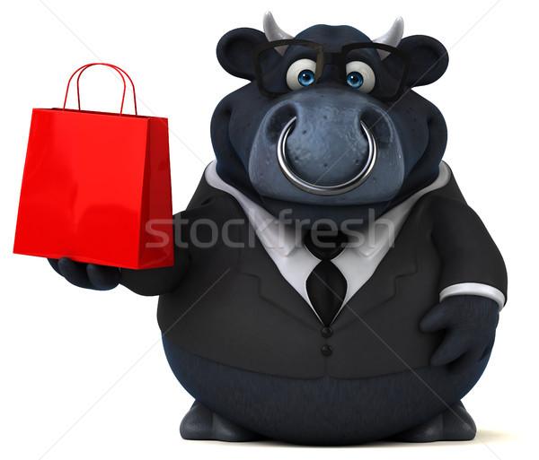 Czarny byka 3d ilustracji krowy biznesmen gospodarstwa Zdjęcia stock © julientromeur