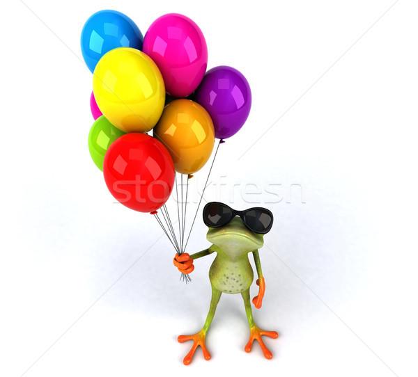 Jókedv béka zöld trópusi cirkusz léggömbök Stock fotó © julientromeur
