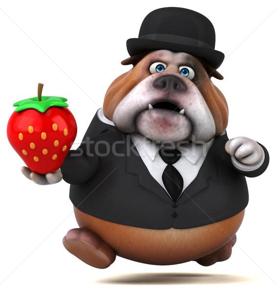Zabawy bulldog 3d ilustracji działalności psa owoców Zdjęcia stock © julientromeur