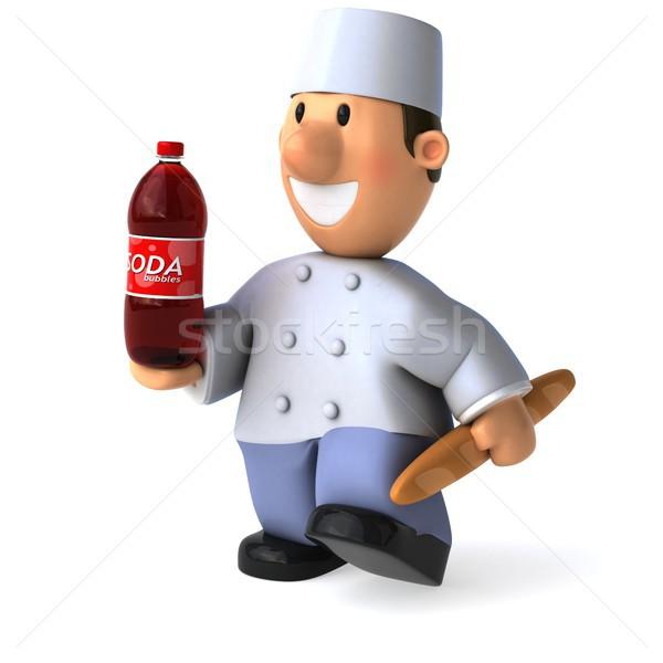 Leuk bakker 3d illustration chef bakkerij soda Stockfoto © julientromeur