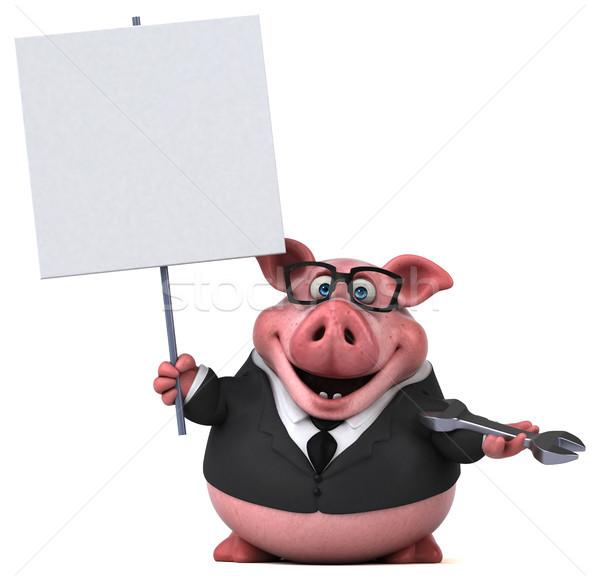 Stok fotoğraf: Eğlence · domuz · 3d · illustration · işadamı · takım · elbise · işçi