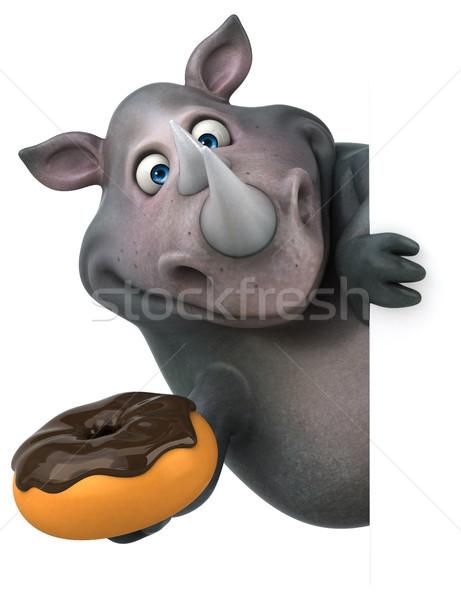 Eğlence gergedan 3d illustration çikolata yağ hayvan Stok fotoğraf © julientromeur