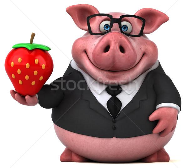 Сток-фото: весело · свинья · 3d · иллюстрации · костюм · фермы · клубника