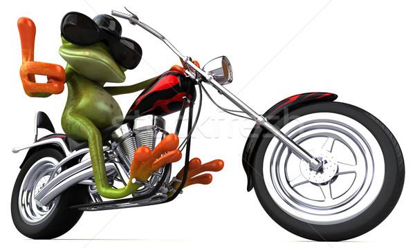 Jókedv béka motorkerékpár 3d illusztráció terv utazás Stock fotó © julientromeur