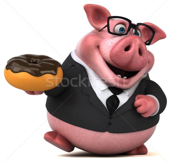 楽しい 豚 3次元の図 チョコレート ビジネスマン スーツ ストックフォト © julientromeur