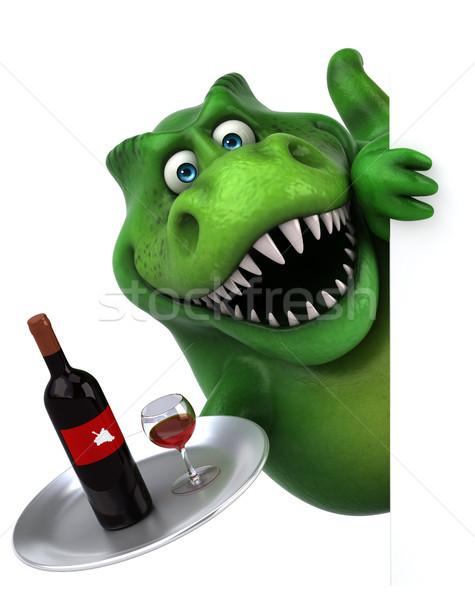 весело динозавр 3d иллюстрации пить красный зубов Сток-фото © julientromeur