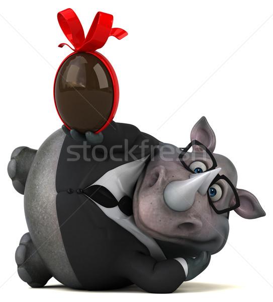 Distracţie rinocer ilustrare 3d ciocolată ou om de afaceri Imagine de stoc © julientromeur