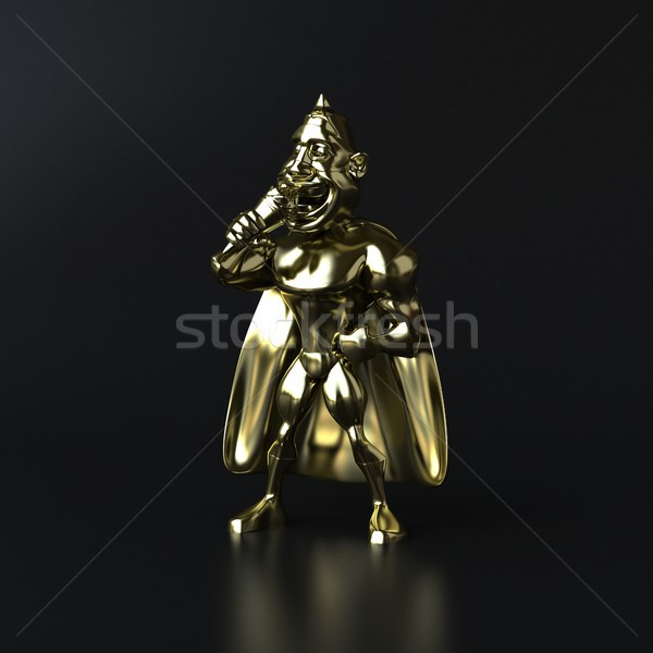 Golden superhero - 3D illustration Stock photo © julientromeur