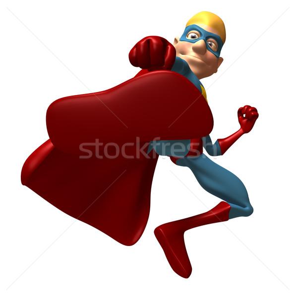 Stok fotoğraf: Süper · kahraman · mavi · eğlence · maske · sarı · çizme