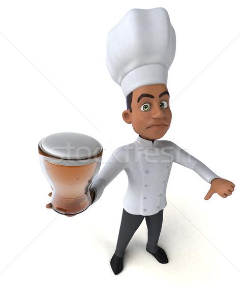 Jókedv szakács konyha ital fehér főzés Stock fotó © julientromeur