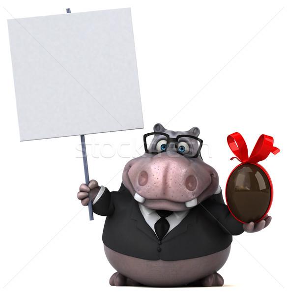 Zabawy hipopotam 3d ilustracji czekolady garnitur tłuszczu Zdjęcia stock © julientromeur