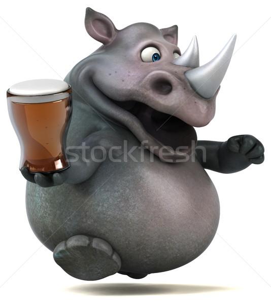 Jókedv orrszarvú 3d illusztráció sör ital kövér Stock fotó © julientromeur