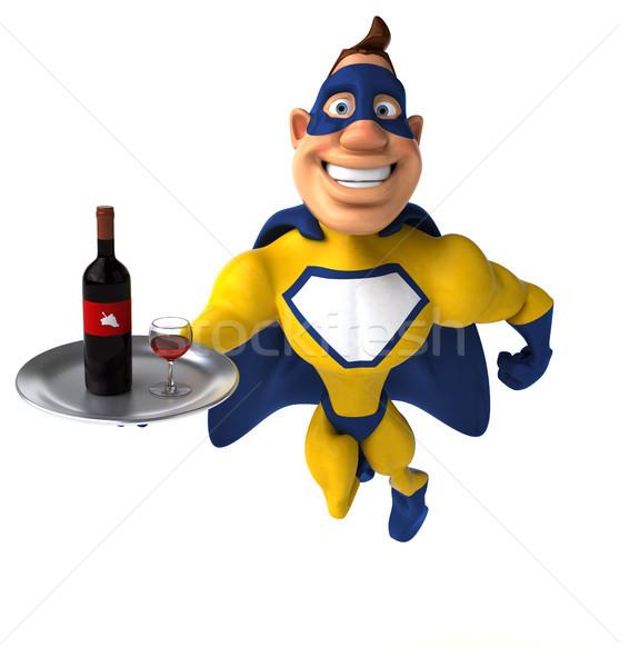 Zabawy superhero wina człowiek ciało pić Zdjęcia stock © julientromeur