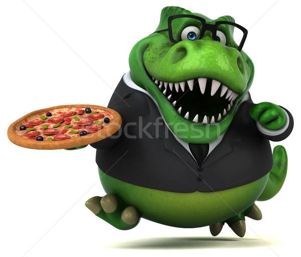 Stockfoto: Leuk · 3d · illustration · business · pizza · zakenman · financieren