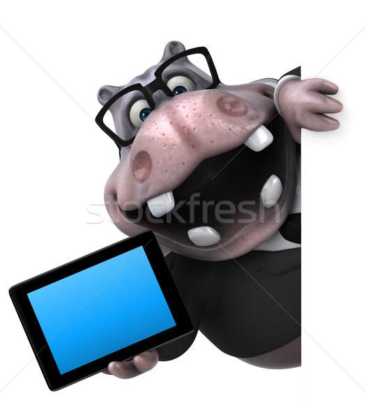 Fun hippo - 3D Illustration Stock photo © julientromeur