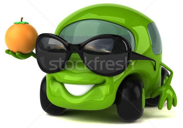 Leuk auto 3d illustration weg vruchten oranje Stockfoto © julientromeur