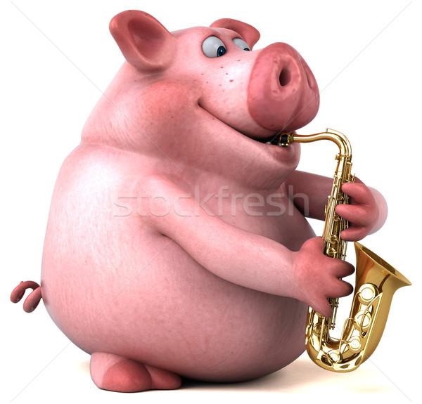 весело свинья 3d иллюстрации концерта жира розовый Сток-фото © julientromeur