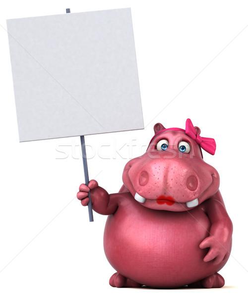 ピンク カバ 3次元の図 楽しい 脂肪 グラフィック ストックフォト © julientromeur